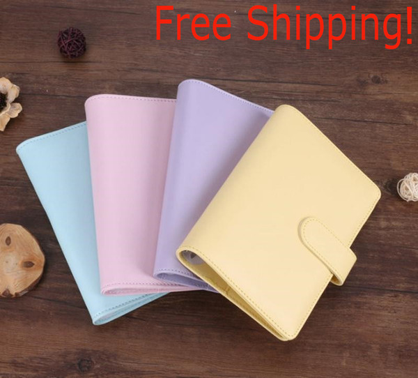 top popular A6 Creative Waterproof Macarons Binder Hand Ledger Notebook Shell Loose-leaf Notepad Diary Stationery Cover School Office Supplies 2021