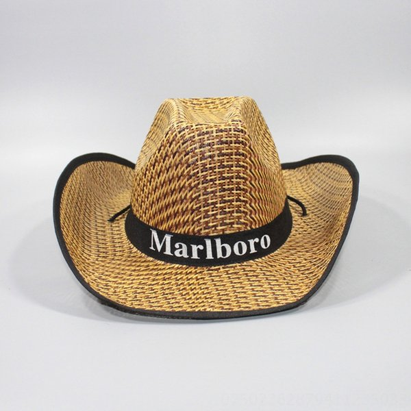Men # 039; s grandes aleros sombrero de paja Negro-Media