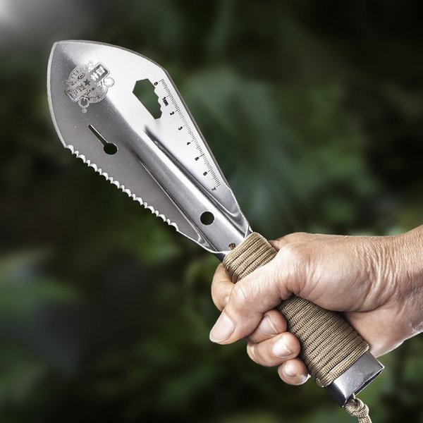 top popular Stainless Steel Garden Shovel Spade Multi Tool Weeder With Sawtooth Hex Wrench Ruler Digging Trowel Knife Spear Garden Bonsai 2021