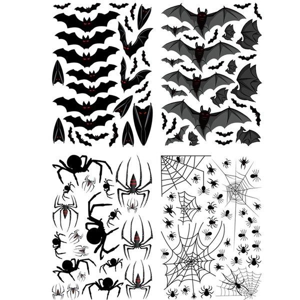 best selling Halloween Bat Spider Xpress Personality Creative Decoration Sticker Cabinet Electrostatic Sticker