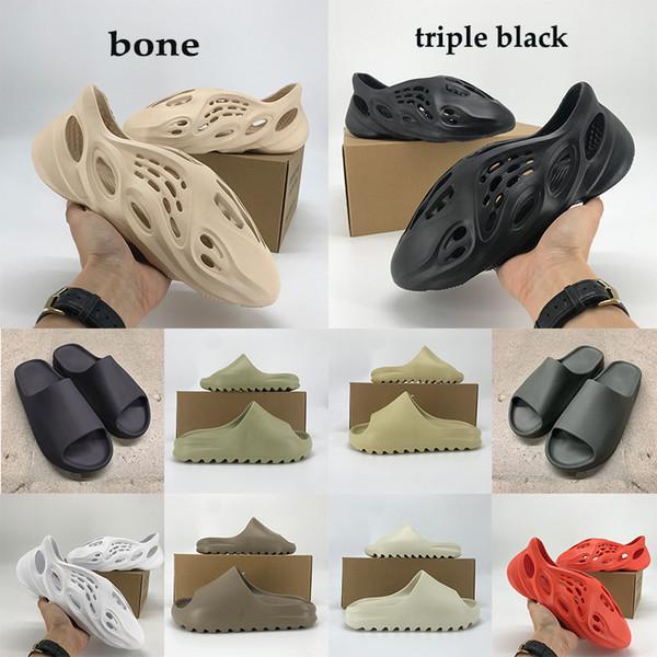 best selling New Kanye foam runner sandals Men Wpmen slide bone white resin shoes desert sand triple black total orange Trainers Trainers US 5-11 Box