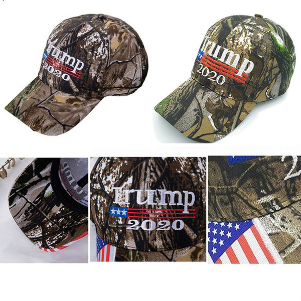 top popular New Camo Donald Trump 2020 Hat Make America Great MAGA Caps USA Flag 3D Embroidery Letter Camouflage Mens Baseball Cap for Women FWA745 2021
