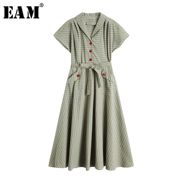 eam] women green plaid stitch bandage midi shirt dress new lapel short sleeve loose fit fashion tide spring summer 2020 1w146 c200919, Black;pink