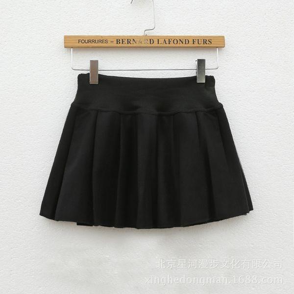 Negro falda plisada (algodón, elástico Wai
