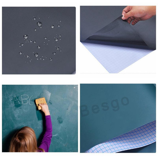 top popular 45*200CM Chalkboard Wall Stickers Black Board Sticker Erasable Removable Blackboard Sticker With Chalks Or Pen For Kids Children BH2710 DBC 2021