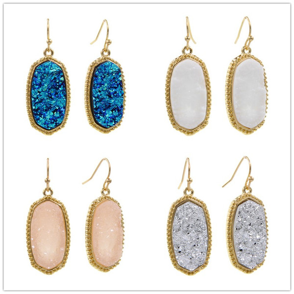 best selling Resin Druzy Drusy Earrings Designer Earrings Oval Hexagon Fashion Dangle teardrop Earrings for Women
