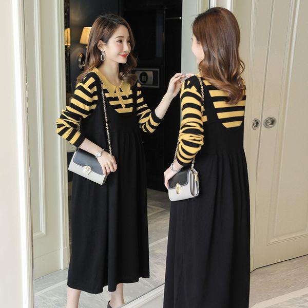 Giallo Stripes + Suspender Skirt nero
