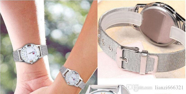 best selling Hot New Women Men couple silver watch stainless steel band watch man and woman watch gift