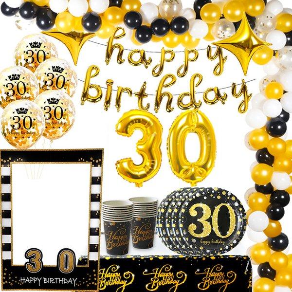Аксессуары для аллонов Weigao Gold / Black 30-й день рождения воздушные шарики латексный шар взрослый тридцать 30 конфетти баллоны счастливые 30 номеров шариков Globos ...