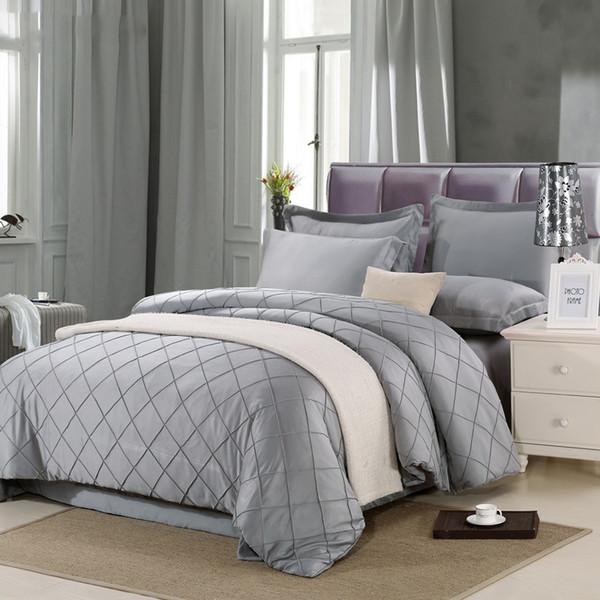 Silk luxuriousSolid color bedding sets 4pcs queen king bedlinen bedclothes comfortable Duvet cover set hotel noble