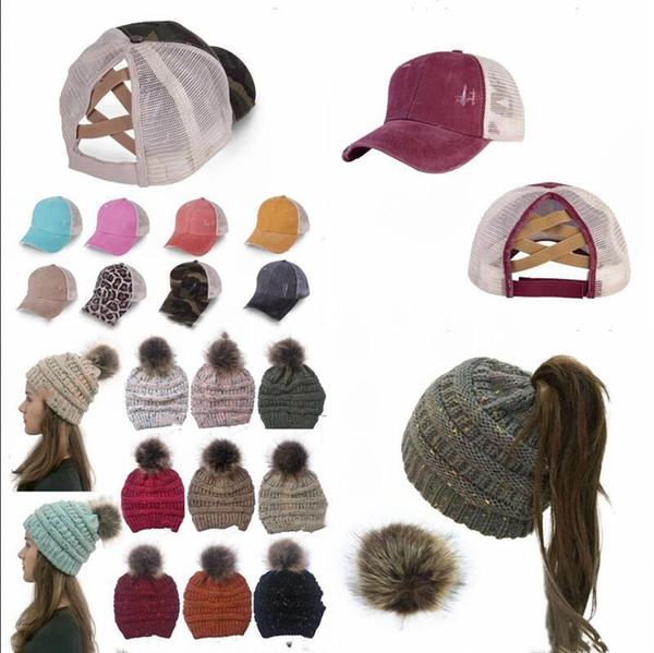 best selling Ponytail Messy Buns Criss Cross Snapbacks Caps With Label Hats Knitted Winter Caps Pom Pom Outdoor Ski Beanie Girls Baseball Caps Hat B7515