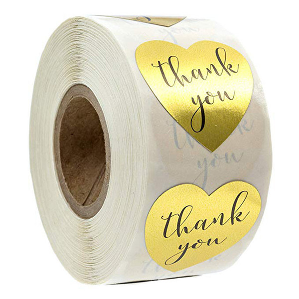 best selling 500pcs Roll Round Gold Thank You Adhesive Stickers Seal Labels For Wedding Package Stationery Gift Bag Baking Decor