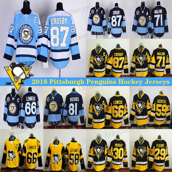top popular Pittsburgh Penguins Jersey 87 Sidney Crosby 71 Evgeni Malkin 58 Kris Letang 59 Jake Guentzel 66 Lemieux hockey jerseys 2020