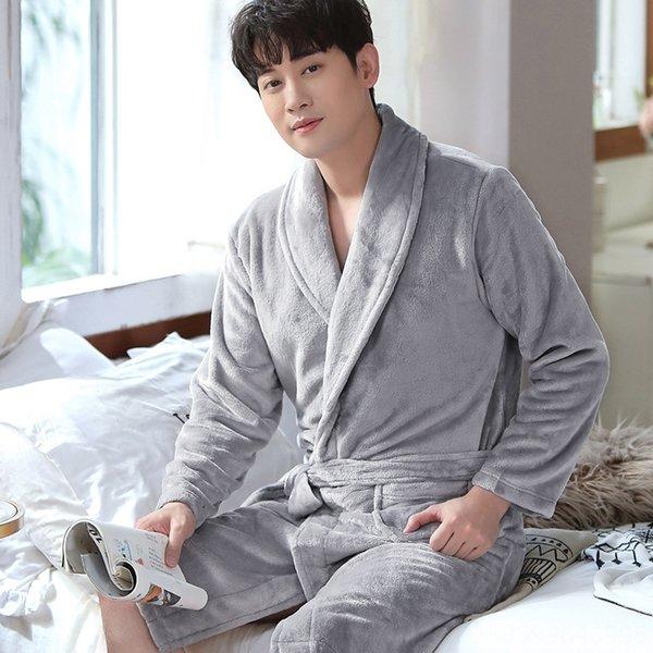 Светло-серый халат для мужчин Y809