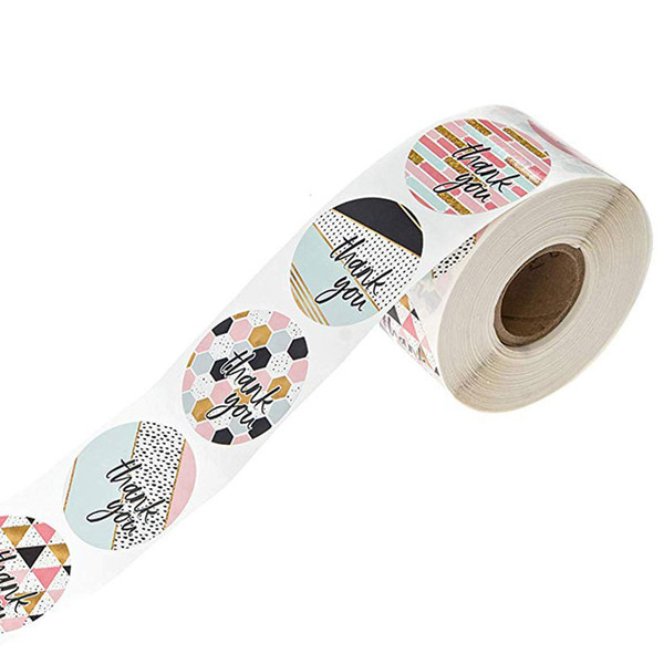 top popular 500pcs roll Thank You Sticker Different Style Seal Label Sticker DIY Gift Decoration and Cake Baking Package diameter 1 inch 2021