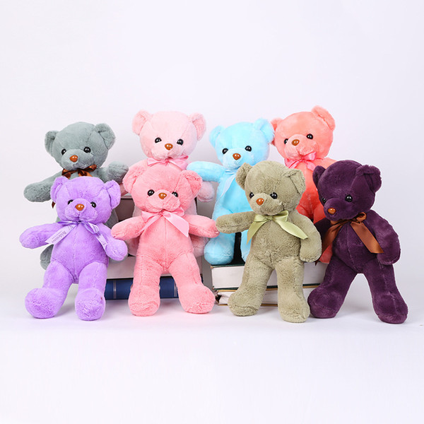 best selling Hot Sale More Color Bear Plush Toy Stuffed For Kids Best Holiday Gifts 25CM 10pcs Lot