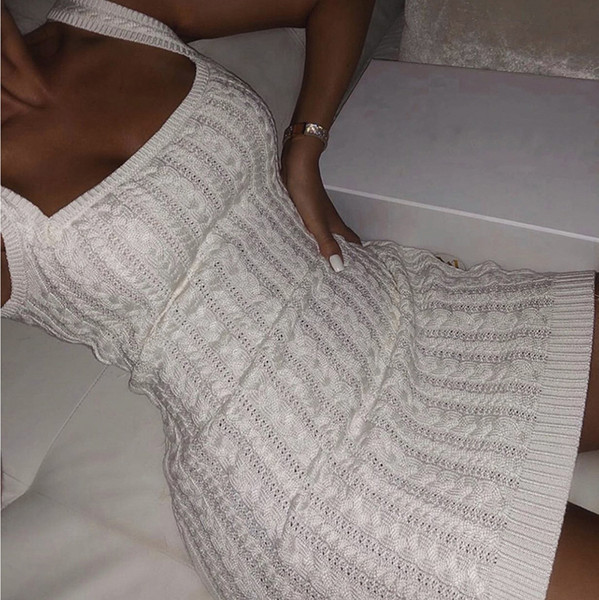 top popular 2020083010 Autumn White Bodycon Knitted Dress Women Square Collar Sleeveless Sexy Off Shoulder Winter Basic Mini Club Dress 2021