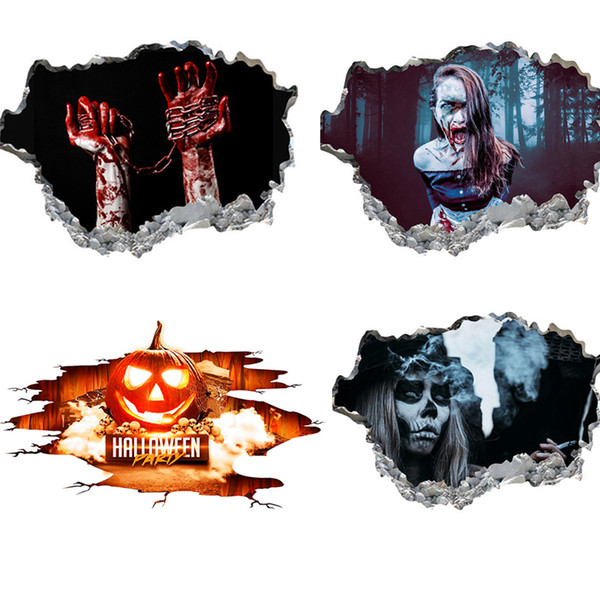 top popular Halloween stickers electrostatic glass window flower stickers window decorations personality creativity 2021