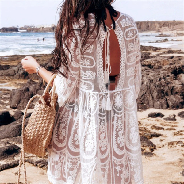 beachwear dresses for women Canada - Cover-up Bkning Embroidery Coverups for Women Tunic Beach Cover Up Dress Solid Blouse Beachwear Lace Sleeve Wrap Dresses Sarongs White