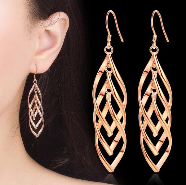 best selling Fashion Long Dangle Earrings Jewelry for Women S925 Sterling Silver Plated Tassel Rope Wave Hollow Earrings Rose Gold Wholesale