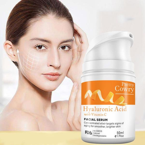 top popular Vitamin C Orange 100% Pure anti-aging Plant Extract Hyaluronic Acid Liquid Whitening Blemish Serum Facial Cream 2021