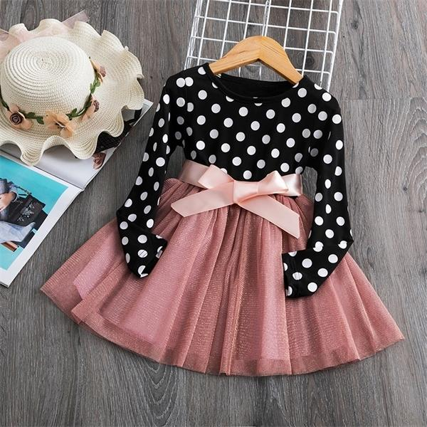 HIPAC Kids Dresses for Girls Autumn Winter Long Sleeve Polka Dots Soft Cotton Children Clothing Bowknot Belt Girl Casual Wear 0922 HIPAC Kids Dresses for Girls Autumn Winter Long Sleeve Polka Dots Soft Cotton Children Clothing Bowknot Belt Girl Casual Wear