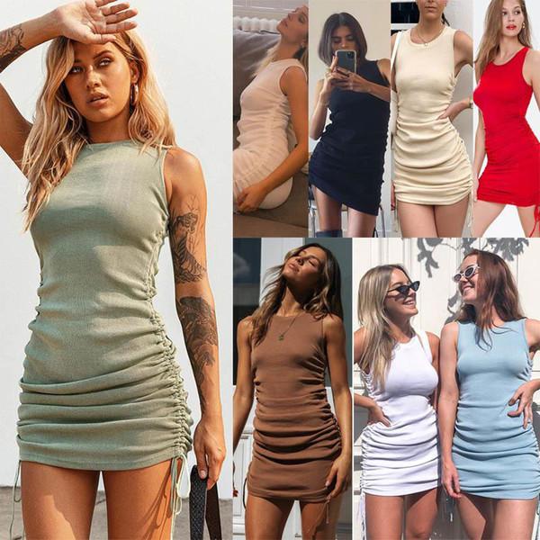 best selling Women Sexy Hip Vest Dress Summer Fall Mini Skirt Drawstring Pleated Slim Bodycon Dresses Party Streetwear Night club Fashion Clothing