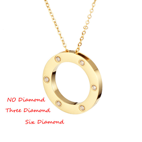 best selling 2020 Dual Circle Pendant Necklace Beautiful Jewelry Stainless Steel Chain Pendant Necklace with bag set