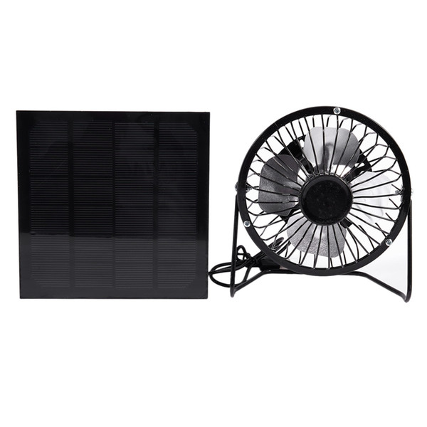 best selling High Quality 4 Inch Cooling Ventilation Fan USB Solar Powered Panel Iron Fan For Home Office Outdoor Traveling Fishing