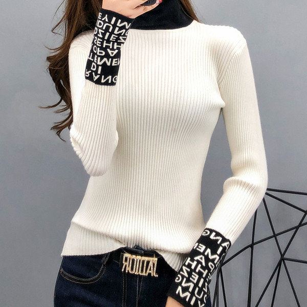 best selling Tight Basic Sweater Women Thin Long Sleeved Women Sweaters And Pullovers Turtleneck Slim Sweaters Ladies Knitted Fashion