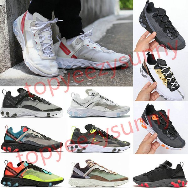 best selling 2020 react element 87 55 running shoes for mens womens Pack White Sneakers Brand Men Women Trainer Men Women Designer Running Shoes Zapatos