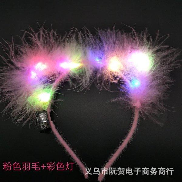 5 перо розовый обруч + цветной свет