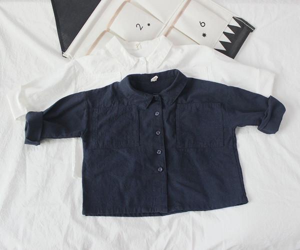 best selling FM INS Korean Japan Kids Girls Boys Shirts Linen Cotton Plain Turn-down Collar Front Buttons Quality Little Princess Blouses Children Tops