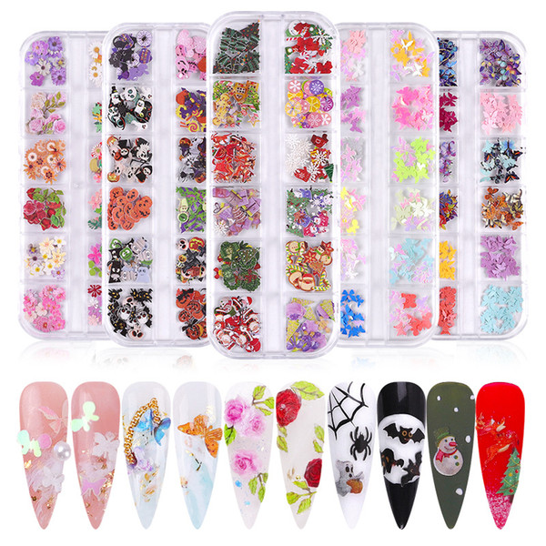 top popular 12 Grid Nail Art Design Wood Pulp Chips Nail Ornaments Xmas Halloween Mixed Decoration DIY Christmas Manicure Accessories 2021