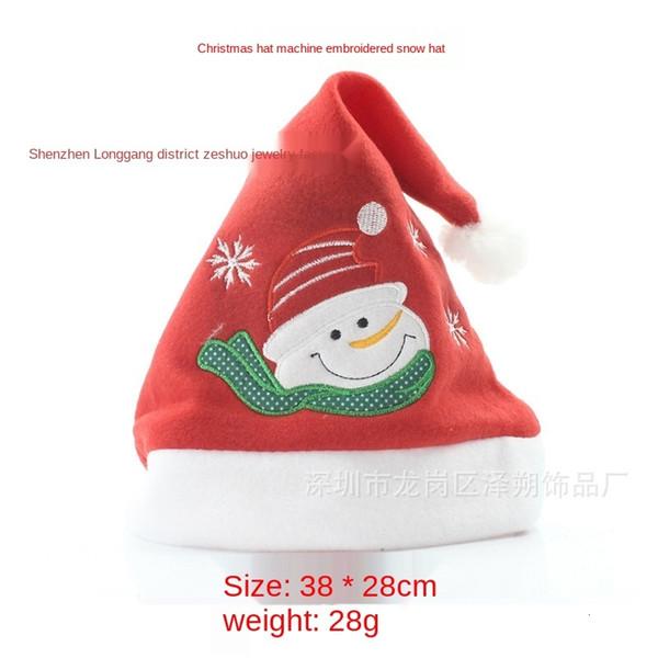 Machine Embroidered Snowman Hat