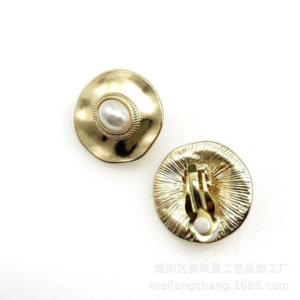 Round or brillant perles clip oreille