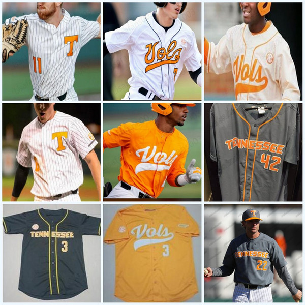 best selling Custom NCAA Tennessee Volunteers 3 Todd Helton #11 Yan Gomes 19 Matt Duffy 21 Eric Gilliam mens youth Baseball stitched Jersey