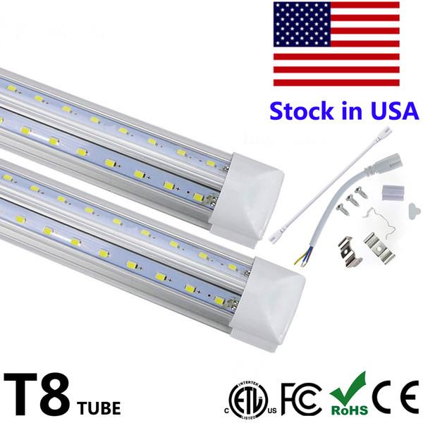 top popular V-Shaped Integrate T8 LED Tube 2 4 5 6 8 Feet LED Fluorescent Lamp 120W 8ft 4rows LED Light Tubes Cooler Door Lighting 2021