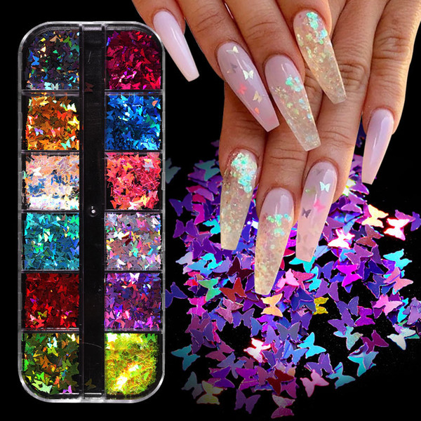 top popular 1 Box12 Grids Mixed Nail Art Deco Butterfly Patch Laser Symphony Star Butterfly Fluorescent DIY Nail Art Decoration Sequins 2021