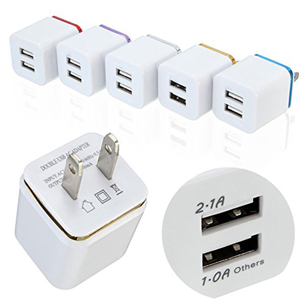 top popular Hot sale Top Quality 5V 2.1+1A Double USB AC Travel US Wall Charger Plug Dual Charger For Smart Phone Adapter 2021