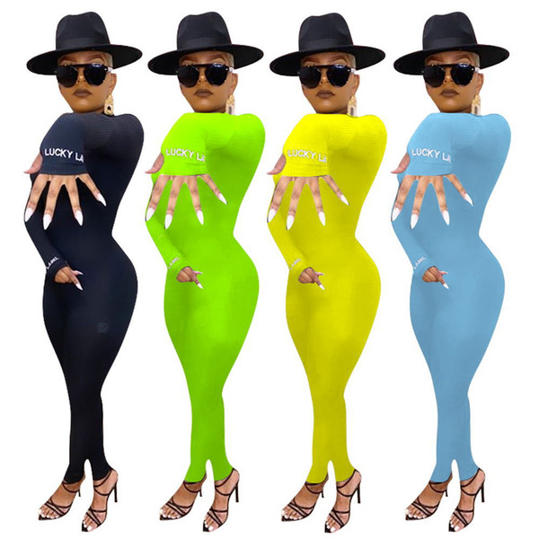 best selling women onesies 2020 new autumn and winter striped slim Long sleeve jumpsuit embroidery Tight jumpsuits rompers hot sale