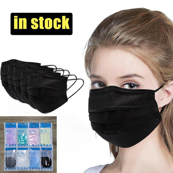 best selling 8 Colors Adult Mask 10PCS Retail package Fashion Designer Face mask 3 layers Black Disposable Non-Woven Anti-Dust mascarilla mascherina