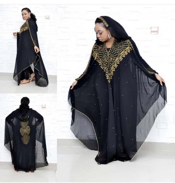 best selling African dress size dashki diamond beads African dress abaya dubai abaya Muslim evening hooded cape