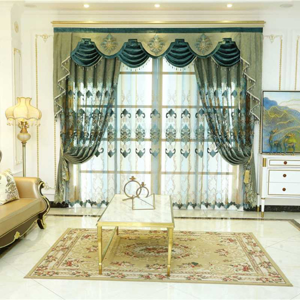 best selling European and American  green embroidered for living room bedroom hotel kitchens equipped with high-quality curtains