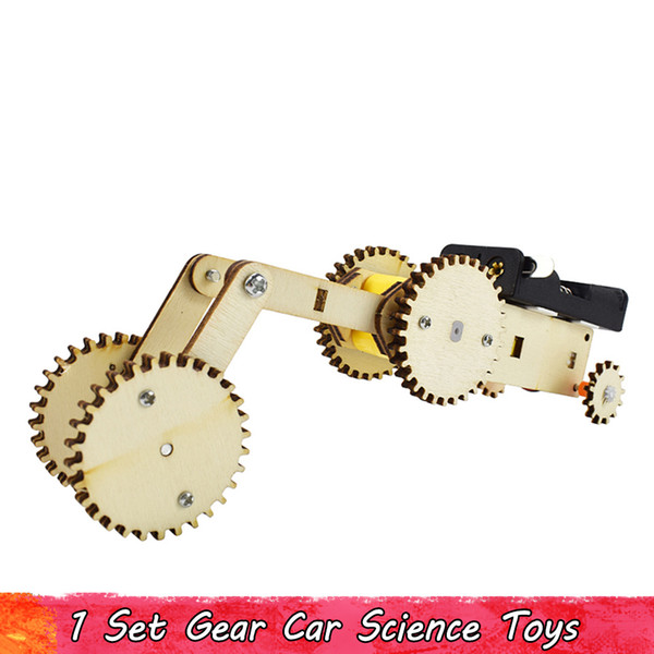 top popular 1 Set Wooden Forward and Backward Gear Car Science Toys Physics Experiment Set DIY Electric Kit Gear Transmission Kids Educational Toys 2021