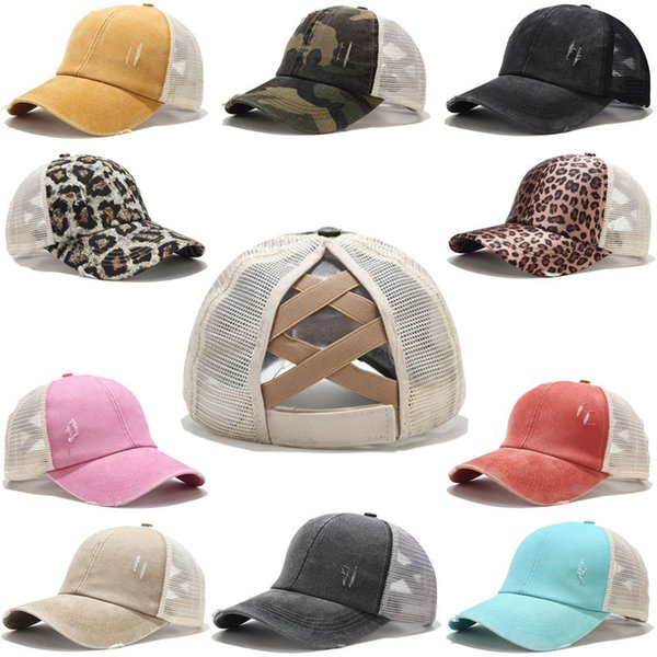 best selling Ponytail Baseball Cap Women Distressed Washed Cotton Trucker Caps Casual Summer Snapback Hat Glitter Brim Satin DLH467