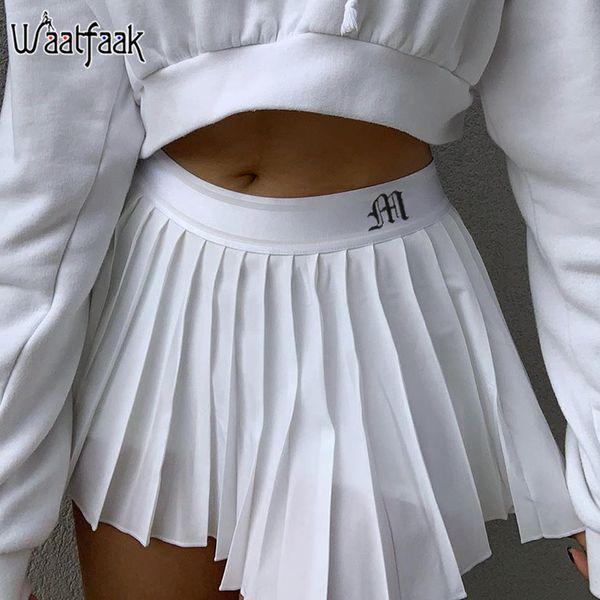 top popular Waatfaak White Pleated Skirt Short Woman Elastic Waist Mini Skirts Sexy Mircro Summer Embroidery Mini Tennis Skirt New Preppy 2021