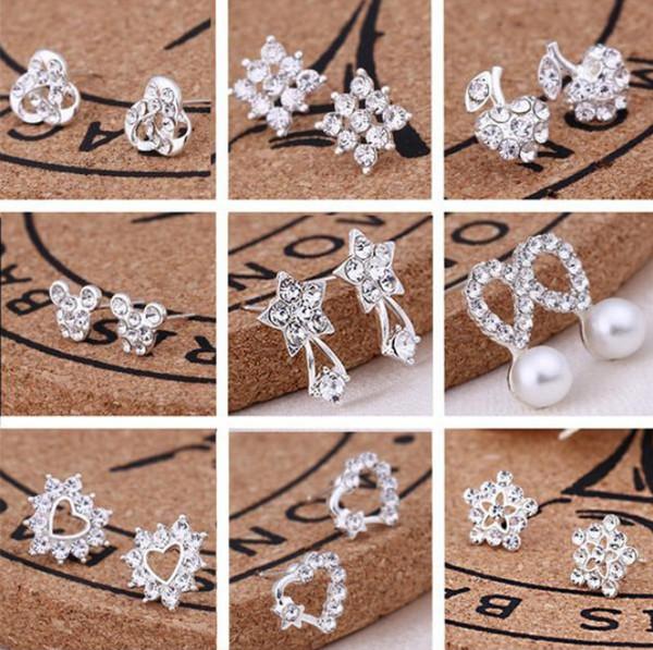 best selling Hot sell 45 styles creative ear studs fashion snowflake beer crystal rhinestone pearl ear studs new pearl earrings . a174