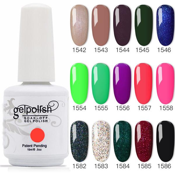 best selling 100% Brand New Gel Nail Polish Soak Off Nail Gel 403Colors 15ml 12Pcs lot 15ML Free Shipping