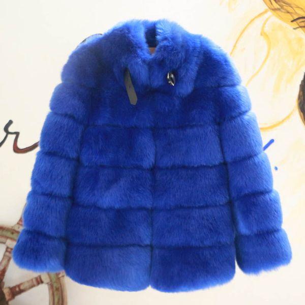cappotto di pelliccia blu